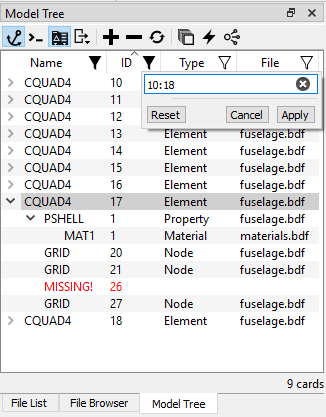 Model tree Nastran card mode